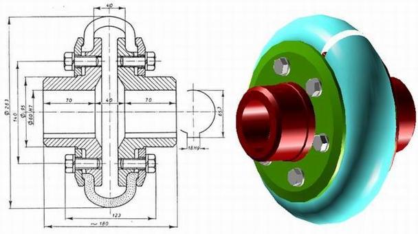Giunto elastico Periflex rappresentato in 3D mediante un sistema CAD.