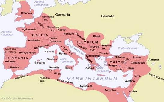 Cartina dell'Impero romano (v. in particolare le posizioni geografiche di Asia e Cilicia).