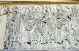Processione di sacerdoti: Dettaglio dell'Ara Pacis in Roma