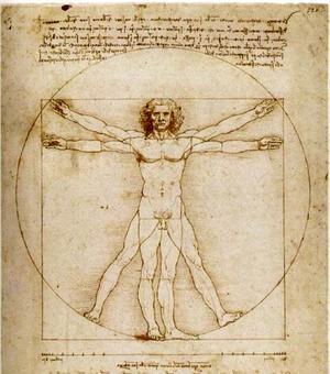 Leonardo da Vinci (1452-1519), uomo vitruviano, disegno, 1490