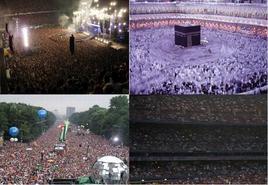 Un concerto rock. Il movimento della folla dei fedeli a La Mecca. Una manifestazione politica. Il pubblico ad una partita di calcio