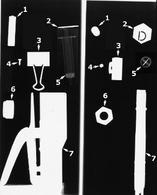 Fig 2: 1=pila; 2=lettera piombata; 3=graffa metallica; 4=vite; 5=siringa; 6=bullone; 7=spillatrice