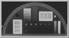 Fantoccio utilizzato per stabilire la risoluzione spaziale e di contrasto radiografica