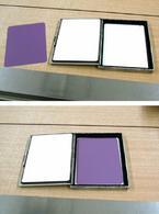 In alto, la pellicola e gli schermi (di colore bianco); in basso, la pellicola alloggiata nella cassetta