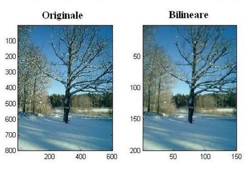 """Esempio dell'applicazione del metodo di interpolazione """"bilineare""""."""