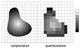 Esempio del processo di campionatura e quantizzazione.