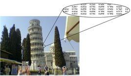 Rappresentazione numerica di una immagine. Il valore riportato nel riquadro è il valore dell'intensità dell'immagine.