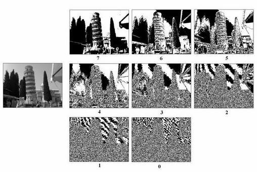 Un esempio reale. Rappresentazione dei piani di ogni singolo bit per una immagine a 8 bit.