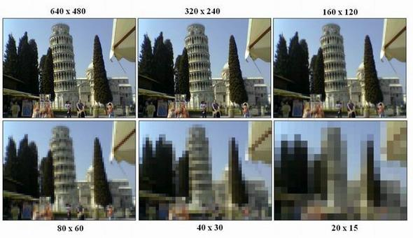 Esempio della rappresentazione di una immagine modificando le dimensioni dei pixel a parità di dimensione dell'immagine.