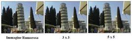 Esempio dell'applicazione del filtro media su una immagine rumorosa.
