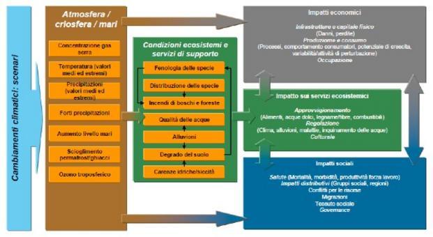 Sequenza dei potenziali impatti dovuti ai cambiamenti climatici. Fonte: Documento di lavoro dei servizi della Commissione che accompagna il Libro Bianco. L'adattamento ai cambiamenti climatici: verso un quadro d'azione europeo Sintesi della valutazione d'impatto. Fonte: Commissione Europea