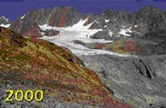Riduzione dei ghiacciai nel 2000. Fonte: Comune di Modena