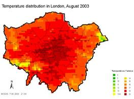 Distribuzione della temperatura a londra. Fonte: London's Warming Greater London Authority