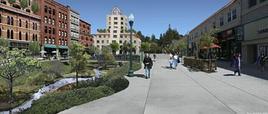 Recupero di ruscelli interrati perché diventino elementi di aree pedonali nei tessuti urbani centrali. Strawberry Creek a Center Street, Berkeley, California. Fonte: Ecocity Builders