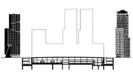 Lo schema, in sezione dell'assorbimento delle infrastrutture di trasporto in Amsterdam Zuidas. Le torri ai lati sono quelle esistenti. La sagoma delle centrali sono quelle previste. Fonte Zuidas Amsterdam