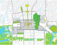 Sistemi degli spazi verdi di Zuidas. Fonte: Zuidas Amsterdam