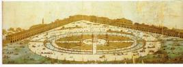 Incisione di Francesco Piranesi raffigurante l'intero progetto di Andrea Memmo su Prato della Valle (Padova), 1776