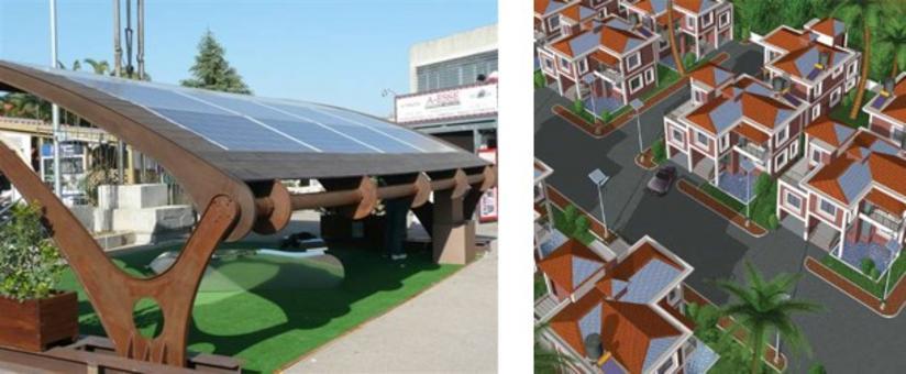 Si noti anche l'impiego del fotovoltaico negli elementi di arredo urbano. Esso va tenuto presente nella progettazione degli spazi pubblici. Fonte: Termoidraulica Pallonetto