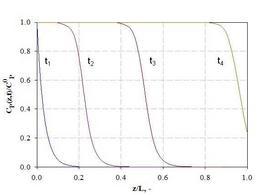 Profili di concentrazione per l'adsorbimento in letto fisso.