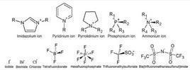 Tipici cationi ed anioni costituenti i liquidi ionici.