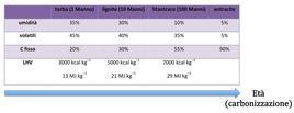 Tipologie di carbone in funzione del processo di carbonizzazione (dati in % in peso, e su base priva di ceneri, per l'analisi tecnica; valori indicativi).