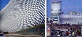 La facciata dei Grandi Magazzini Selfridges (2004) nel contesto urbano di Birmingham