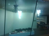 Particolare del grigliato celeste che impedisce la totale visibilità dalle vetrine