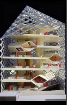 Prada epicentro, Tokyo, 2003, Arch.tti Herzog & de Meuron. Modello di studio con articolazione dei vari livelli