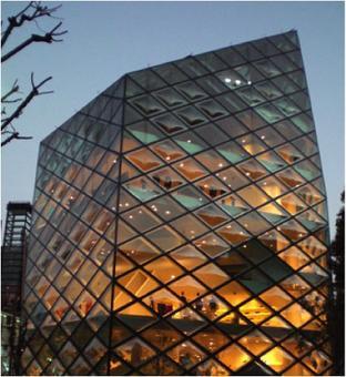 Vista notturna in cui, nella trasparenza della facciata, si intravedono i piani orizzontali dei solai di calpestio