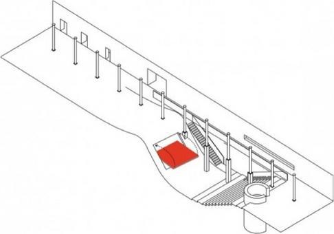 Vista assonometrica complessiva. In rosso: pedana estraibile in corrispondenza del piccolo spazio scenico