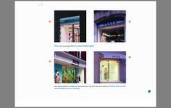 Pagina di un Concept Book, illustrativo delle diverse tipologie di soluzione dell'insegna di facciata