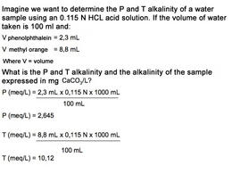 Example of how to calculate alkalinity of a water sample