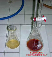 "Colour of solution at equivalence point with Mohr method titration. Source: Istituto Professionale di Stato ""F.S. CABRINI"""