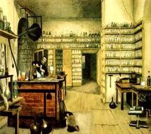 Michael Faraday fisico e chimico del XIX secolo nel suo laboratorio  Fonte: Wikipedia