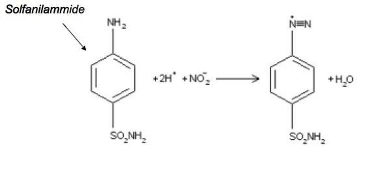 La solfanilammide in ambiente acido viene diazotata dallo ione nitrito.