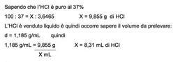 Calcolo del volume di acido cloridrico concentrato da prelevare.