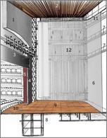 Il palcoscenico: sezione prospettica. Fonte: disegno originale di Alessandra Pagliano