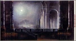 Don Giovanni, bozzetto di scena di Ezio Frigerio. Fonte: sezione Allestimenti scenici del Teatro Alla Scala di Milano