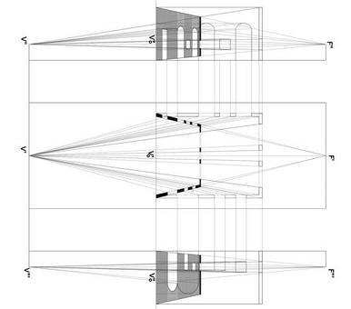 Pianta e sezioni di uno spazio architettonico reale a pianta rettangolare e dell'equivalente spazio illusorio, realizzato in prospettiva solida. Originale di Alessandra Pagliano