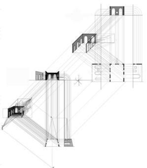 Assonometria cavaliera dello spazio architettonico reale e dell'equivalente prospettiva solida accelerata. Originale di Alessandra Pagliano
