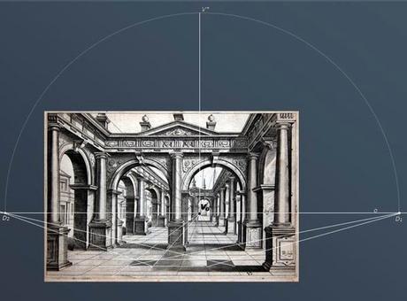Individuazione della retta d'orizzonte e del punto V0 sull'Immagine prospettica di un'architettura con pavimentazione a lastroni quadrati. Fonte: Gesuele A., Pagliano A., Verza V., La geometria animata, Cafoscarina 2007