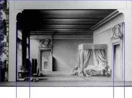 Le nozze di Figaro, scene di Ezio Frigerio, bozzetto atto 2: verifica del parallelismo degli spigoli verticali
