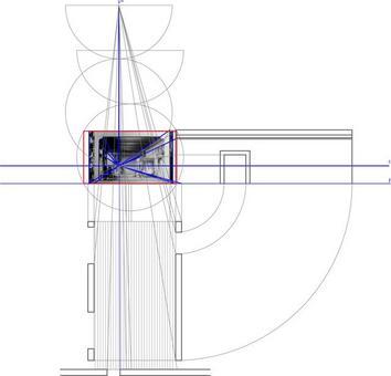 Procedimento geometrico per la restituzione dei grafici mongiani dal bozzetto. Fonte: disegno di Alessandra Pagliano