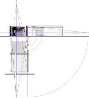 Accelerazione prospettica dello spazio architettonico per una determinata inclinazione del palco. Fonte: disegno di Alessandra Pagliano