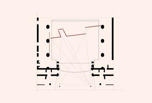 Calcolo degli sfori visivi, disegno di A. Triggianese. Fonte: Pagliano A. (a cura di), Le geometrie dell'illusione. Artifici prospettici dello spazio scenico, Fridericiana 2009
