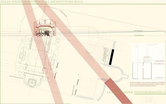 Pianta e sezioni dello spazio architettonico reale restituito dal bozzetto, fotogrammetria con il metodo del ribaltamento. Fonte: Pagliano A., Fridericiana 2009