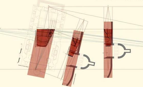 Metodo geometrico della prospettiva solida accelerata applicato alla pianta e alle sezioni dello spazio architettonico reale. Fonte: Pagliano A., Fridericiana 2009