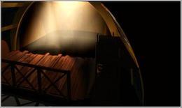 La scena del primo atto vista dal loggione, photorendering dal modello 3d. Fonte: Pagliano A., Fridericiana 2009