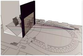 Schema geometrico-esplicativo delle operazioni di restituzione fotogrammetrica operate sul bozzetto.Fonte: Pagliano A., Fridericiana 2009