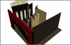 Il trucco svelato: vista dall'alto dell'allestimento scenico. Fonte: Pagliano A., Fridericiana 2009